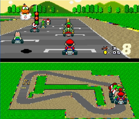 super mario kart split screen